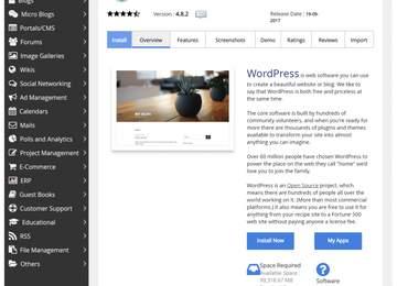 Softaclous wordpress sayfası