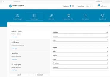 DirectAdmin kontrol paneli arayüzü